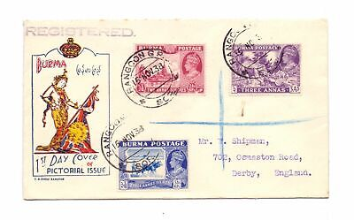 BURMA 1938 ILLUSTRATED FDC WITH 3 x DEFS.