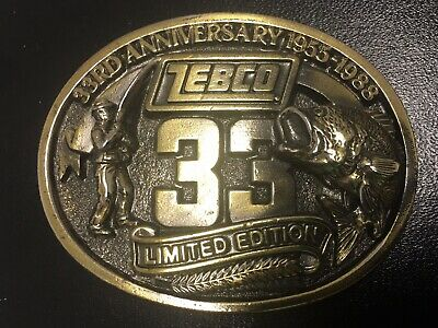 Zebco 33 Limited Ed. 33rd Anniversary 1955-1988 Brass Belt Buckle Made In USA!