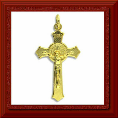"St Saint Benedict Flared Edge Crucifix 1 1/2"" Gold Plated Italy JESUS ✝️ CROSS"