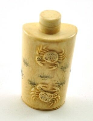 Vintage Chinese Bone Hand Carved Small Peking Snuff Bottle - Two Crab Sea Life