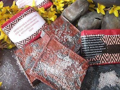 Luxury Handmade 100%Natural Reviving Soap With Himalayan Salt,Charcoal+Red Clay