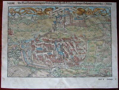 Rusach Germany Château D'Isenbourg Munster antique birds-eye city view map