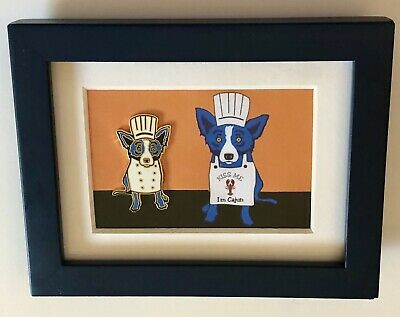 George Rodrigue BLUE DOG Framed Chef Lapel Pin ~ Super Cute!