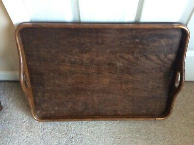 Vintage Arts & Crafts Large Wooden Copper Edged Serving Tray In Good Used Cond