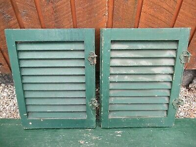 "GREAT OLD  2 SHUTTERS Wooden 19"" long x 15"" Wide Architectural Salvage #5"