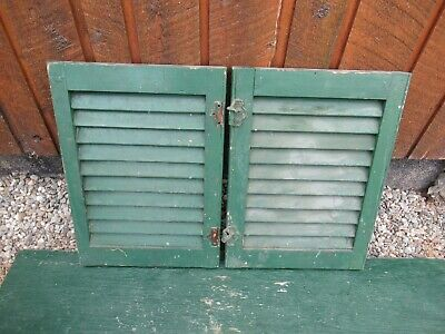 "GREAT OLD  2 SHUTTERS Wooden 19"" long x 14"" Wide Architectural Salvage #7"