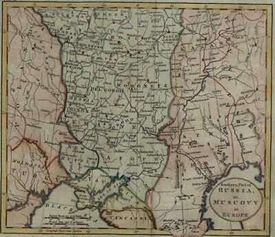 Muscovy southern Russia Ukraine Circassia 1796 Kitchin style hand color map