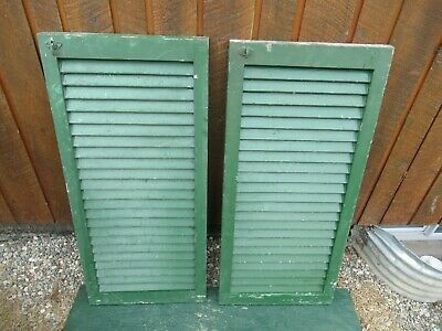 "VINTAGE OLD  2 SHUTTERS Wooden 39"" long x 18"" Wide Architectural Salvage #12"