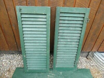 "VINTAGE OLD  2 SHUTTERS Wooden 35"" long x 14"" Wide Architectural Salvage #13"