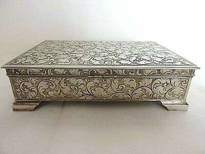 Vintage Silver Plate Cigarette Box Chased Scrolling Foliate Wood Lined c.1930's