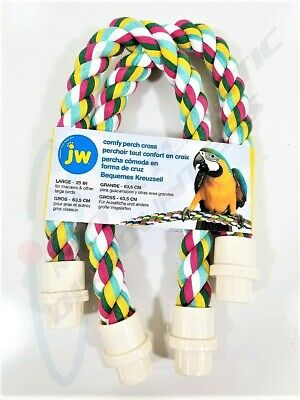 """JW Pet Comfy Perch Cross 25"""" Large Multicolored for Macaws and Other Large Birds"""