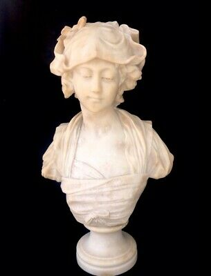 Alabaster Bust of a Young Lady by Fiaschi Italy Signed 23""
