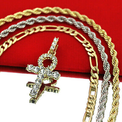 """Mens 14k Gold Plated Cz Ankh Pendant Hip Hop 5mm 18"""" Figaro 24"""" Rope Chain"""