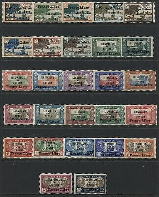 1940 Wallis & Futuna Islands various values to 5 francs unmounted mint NH