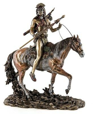 "12"" Sioux Indian on Horseback Native American Statue Sculpture Figure"