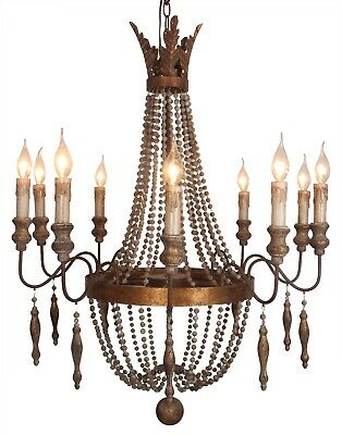 10-light vintage French Country style wood bead antique gold empire chandelier