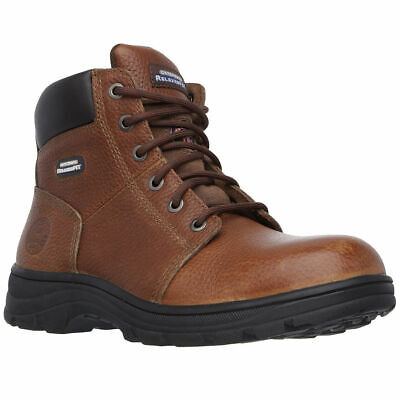 747af66196d 77009 SKECHERS MEN'S Workshire Relaxed Fit Work Steel Toe Boot Brown ...