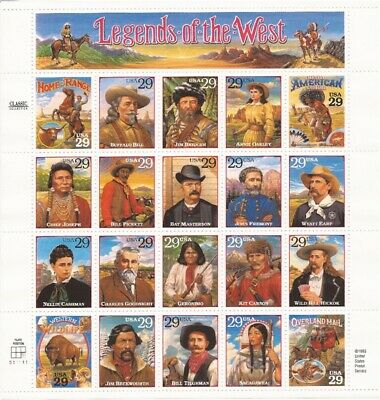 US Stamp - 1994 Legends of the West  20 Stamp Sheet  Scott #2869