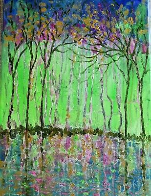 original painting Caifornia Springtime trees -oil abstract painting 16 x 12