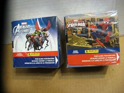 2 Full Boxes (100 Packs) 2014 Marvel Spiderman  +  Avengers Sticker Cards Sealed