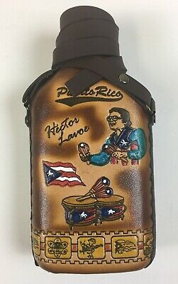 Glass Bottle (Caneka) Wrapped In Leather with Puerto Rico design Hector LaVoe