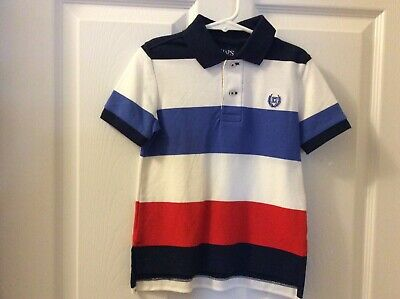 CHAPS boy's NWOT sz 3T red, white, blue striped short sleeve polo shirt Toddler