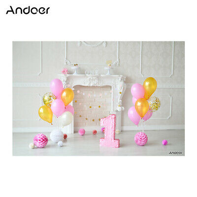 Andoer 2.1 * 1.5m/7 * 5ft First Birthday Backdrop Cake Balloon Photography W2B7