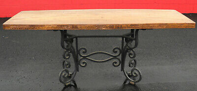 Antique Vintage Folk Art Carved Wood & Iron Base Dining Table