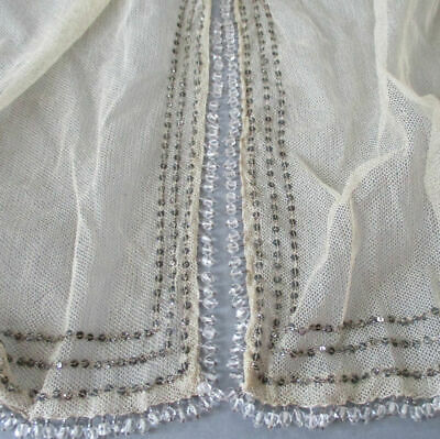 Antique VICTORIAN Net Lace SHAWL Runner SEQUINS Bobble CRYSTALS All Around 108""