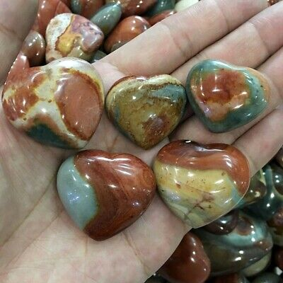 5pcs Natural Polished Polychrome Jasper Heart Mineral Specimen Random Wholesale