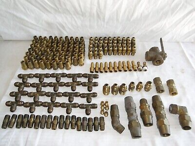 Lot of Brass Flare & Compression Fittings, Brass Valve, 180 Pcs.