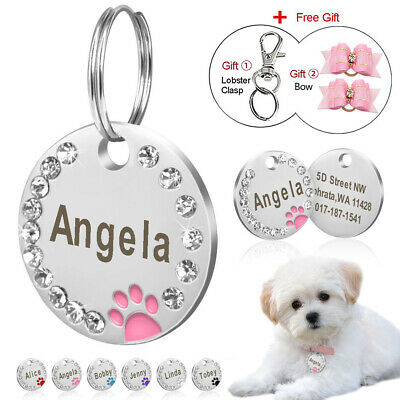 Dog Tag Engraved Personalised Paw Rhinestone Cat ID Name Pet Tags Free Hair Bows