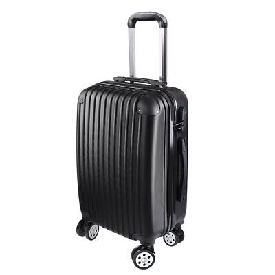 "20"" Carry On Luggage Travel Bag Trolley Suitcase ABS 360° Rolling Wheel Black"