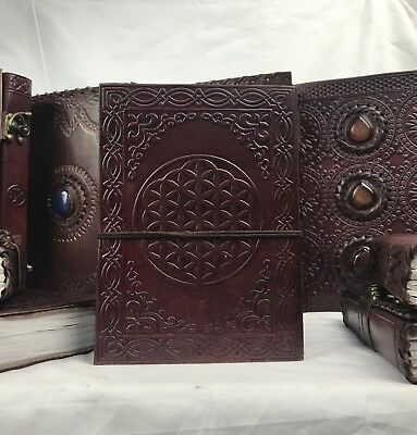 Hand Made Leather Bound Book/Journal Recycled Paper Circles of Life 18 x 13 cm