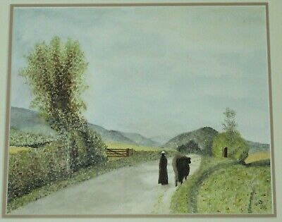Vintage Signed  Watercolour - Person Leading Cow On Country Road