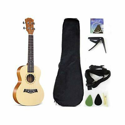 Soprano Ukulele Solid Top Spruce 21 Inch With Ukulele Accessories With Gig Bag