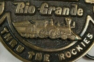 "Vintage Solid Brass MAIN LINE RIO GRANDE ""THRU THE ROCKIES"" Belt Buckle      -D-"