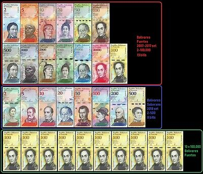 Venezuela Full Set 2 - 100,000 Bolivares, 2-500 Soberanos plus 10 X 100k -31 PCS