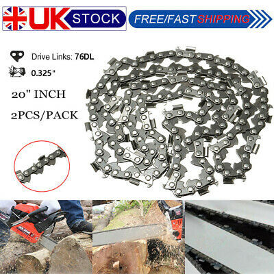 2PCS 20'' CHAINSAW SAW CHAIN .325 Pitch 76DL 0.058 REPLACEMENT SAW SPARE PART UK