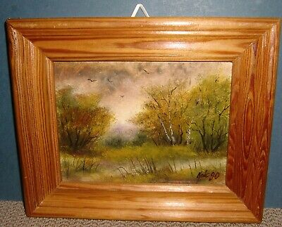 Small Wooden Framed Signed Landscape Oil Painting On Canvas