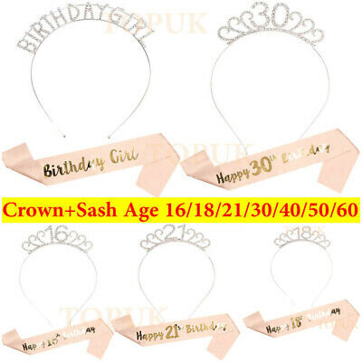 Birthday Silver Rhinestone Tiara Crown Rose Gold Sash 18/21st/30/40/50th Party