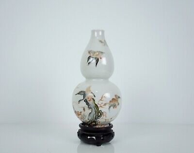 A Chinese Famille Rose 'Wild Goose' Double Gourd Vase, 18th Century