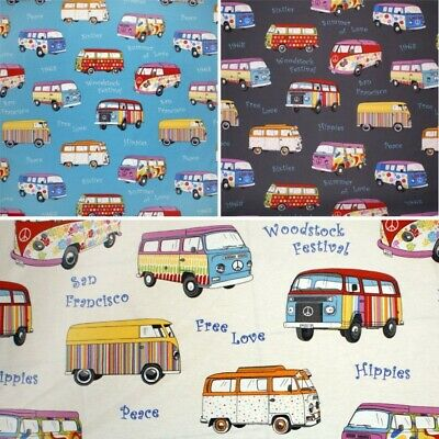 Cotton Rich Linen Look Fabric Curtain Upholstery Cushion 60's VW Camper Vans