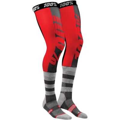 100% Rev Knee Brace Moto Socks MX Motocross Strümpfe Beinlinge rot/grau