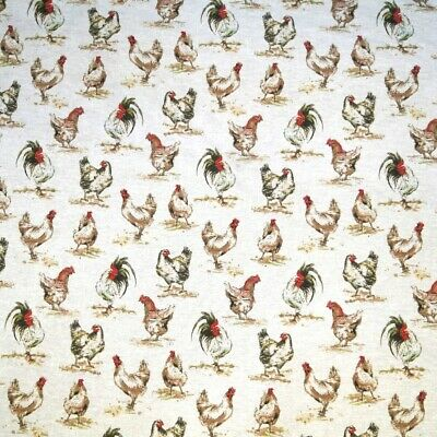 Sale Cotton Rich Linen Look Fabric Curtain Upholstery Cushion Chickens Hens