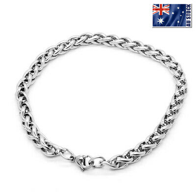 """Stainless Steel Silver Wheat Braided Chain Bracelet Mens & Womens 7"""" 8"""" 9"""" 10"""""""