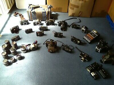 Job Lot 1 Mixed Brand/Vintage Film Cameras - Olympus,Canon,Polaroid,Minolta,