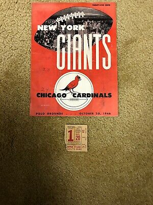 Oct 20, 1946NEW YORK GIANTS vs Chicago Cardinals. Stub From Game Included.