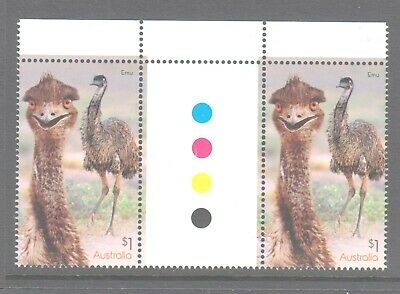 Australia 2019 Flightless Birds Mint unhinged Emu gutter pair with selvedge.