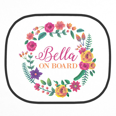 Personalised Floral Wreath Car Sun Shade Kids Toddler Children's Sun Screen